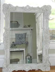 Antiqued White Mirror {Tutorial}
