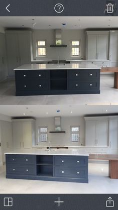 Cornforth and railings farrow and ball contemporary kitchen. Modern country. By day and by night. See how light changes colour.