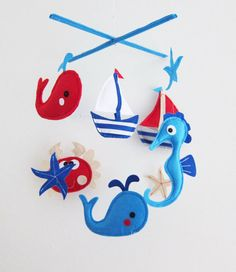 Baby Mobile Sea Horse and crab Crib Mobile by lovelyfriend