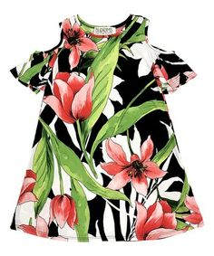 Red & Green Floral Cutout Angel-Sleeve Dress - Toddler & Girls