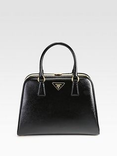 Prada - Saffiano Vernice Frame Pyramid Top Handle Bag - Saks.com