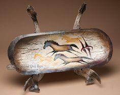 """Tarahumara Indian Bowl & Jawbone Stand 21.5"""""""" (pb37)"""