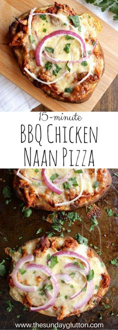 Barbecue Chicken Naan Pizza comes together in 15 minutes and results in a personal pizza with sweet, tender shredded chicken, melted smoky cheese, and bright onion and cilantro to finish.