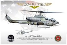 "USMC Light Attack Helicopter Squadron. Bell AH-1W ""Super Cobra"" Attack Helicopter, Military Helicopter, Military Aircraft, Modern Fighter Jets, Aircraft Painting, Sci Fi Ships, Aviation Art, Model Airplanes, War Machine"