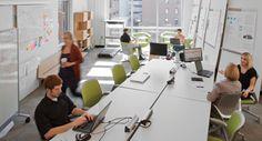 Espacio ideal para un equipo que requiere de una constante comunicación y de una realización de actividades en común con alto nivel de interacción.