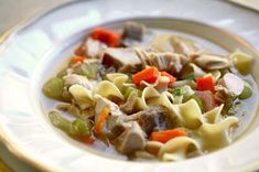 Classic turkey soup recipe.  Every Thanksgiving my mother takes what's left of the turkey carcass and makes a delicious turkey soup that we enjoy for days.
