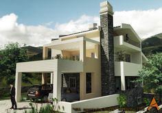 Greece, Mountain, Mansions, Architecture, House Styles, Home Decor, Greece Country, Arquitetura, Decoration Home