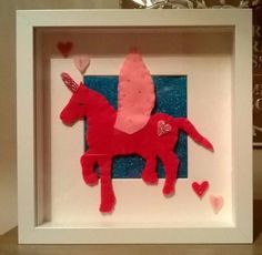 Handmade felt decorated unicorn #picture in #white box frame craft #decorative,  View more on the LINK: 	http://www.zeppy.io/product/gb/2/152407558362/