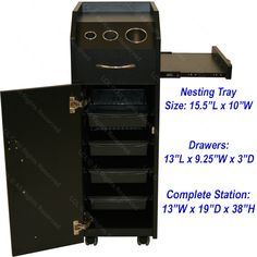 BLACK WOOD LOCKING STYLING STATION 4 DRAWER TROLLEY CART TATTOO SALON