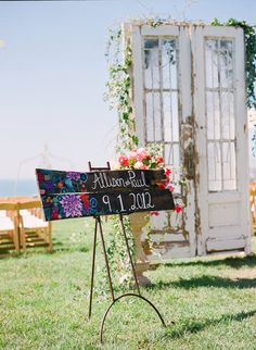Custom Painted Wood Wedding Sign - I could be convinced to do this for you sister dear..
