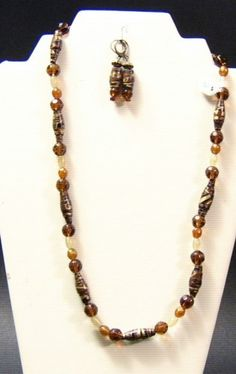 Amber and Champagne Rolled Paper Bead Necklace Set | SunCreations - Jewelry on ArtFire