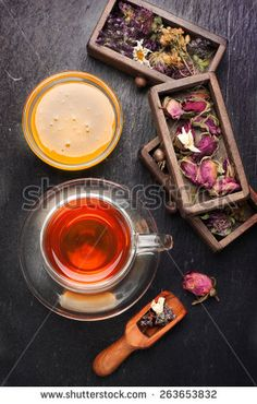Dried herbs and flowers and herbal tea. top view