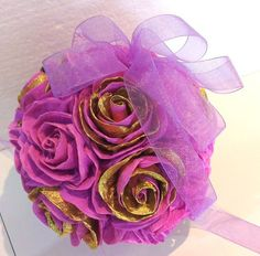 Gold lavender purple Crepe Paper Flowers ball by