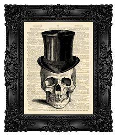 Spirit room.   Skull Illustration,Skull Retro,Skull Collage,Skull Drawing,Skull Wall Decor,Skull Digital - Skull Top Hat - Book Art Page Print 135