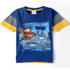 Free shipping C2595 star children wear cotton summer multicolor cartoon clothing brands CARS2 short-sleeved t-shirts boy