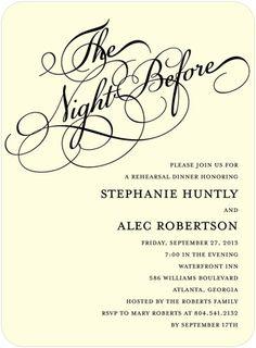 Signature Ecru Rehearsal Dinner Invitations Wedding Eve - Front : Black