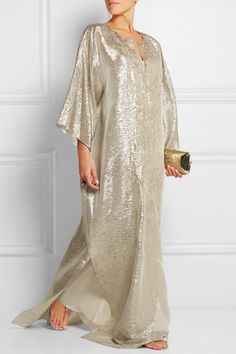 Oscar de la Renta | Embellished silk-blend lamé kaftan | NET-A-PORTER.COM