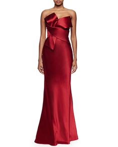 Origami Strapless Gown, Deep Red