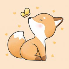 Cute Fox And Butterfly Cartoon Hand Drawn Style Cute Fox Drawing, Cute Little Drawings, Cute Cartoon Drawings, Cute Easy Drawings, Cute Kawaii Drawings, Cartoon Cartoon, Cute Animal Drawings, Art Drawings Sketches, Cartoon Fox Drawing