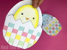 Woven Egg & Chick Cards Printables