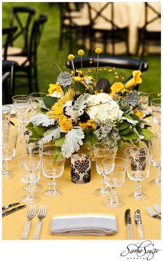 Mustard, Butter, Gunmetal & Onyx color scheme for Weekend Wedding in Sonoma: Dinner & Concert for Candice & Chip | Sparkliatti