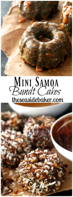 Just like the cookie, these cakes are full of caramel, toasted coconut, and chocolate fudge. They are simple and delicious! By theseasidebaker