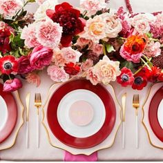 Pair pink and red for a classic, modern look. These vibrant color tones can add warmth and a color pop to a subtle backdrop of nude, blush or a pale peach on a tablescape or your wedding party attire. Accent with gold for extra glam. Make a statement at your wedding with these beautiful, bold hues of color.