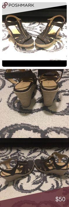 "Michael Michael Kors Damita espadrille wedge MICHAEL Michael Kors ""Damita"" espadrille sandal, featuring logo PVC upper. Rope-wrapped 4"" wedge heel; 0.5"" platform; 3.5"" equiv. Open toe. Golden top zip. Rubber sole. Imported. Sorry no box brand new never been worn. MICHAEL Michael Kors Shoes Espadrilles"