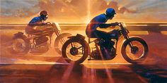 Biker Art by Tom Fritz Artist Enduro Motorcycle, Motorcycle Posters, Motorcycle Art, Bike Art, Harley Davison, Art Moto, Harley Davidson Kunst, David Mann Art, Industrial Paintings