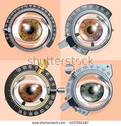 Eye Test concept Vector. Correction Device. Clinic Consultation. Diagnostic Equipment. Optometrist Check. Medical Background Illustration