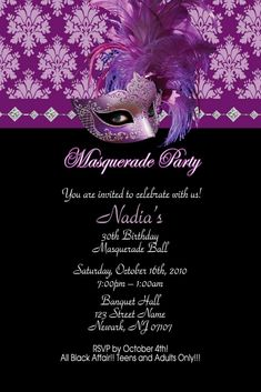 Masquerade Sweet 16 Party ideas