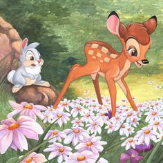 Michelle St Laurent The Joy a Flower Brings From Bambi Gallery Wrapped Giclee On Canvas Disney Fine Art Panpan Disney, Bambi Disney, Bambi 3, Disney Stuff, Disney Movies, Disney Fine Art, Disney Treasures, Disney Paintings, Disney Artists