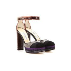 Daphne 120 suede and embossed leather platform sandals (€890) ❤ liked on Polyvore featuring shoes, sandals, leather shoes, leather platform shoes, colorful sandals, suede shoes and suede platform sandals