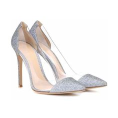 Gianvito Rossi Plexi Glittered Pumps ($500) ❤ liked on Polyvore featuring shoes, pumps, lucite shoes, lucite pumps, acrylic shoes, plexi shoes and gianvito rossi shoes