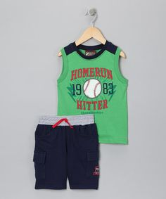 Take a look at this Green 'Homerun' Tank & Cargo Shorts - Infant & Toddler by Nannette on #zulily today!