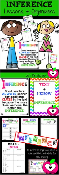 INFERENCE Lessons & Organizers to improve comprehension, metacognition, and progress in reading. #inference #comprehension