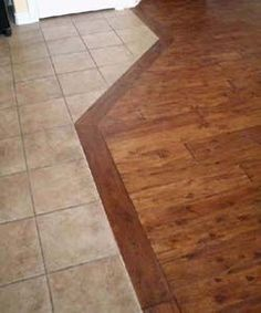 Tile To Wood Transition, Transition Flooring, Entryway Flooring, Kitchen Flooring, Kitchen Wood, Kitchen Design, Kitchen Tiles, Kitchen Reno, Kitchen Remodel