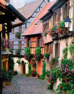 Beautiful Street in Obernai, Alsace, France