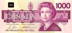 Canada (1988) — $1000. Canada's highest circulating denomination. Printing of the $1,000 note ceased in 2000. The denomination was withdrawn on the advice of the Solicitor General and the Royal Canadian Mounted Police (RCMP), as it was often used for money laundering and organized crime. The Bank of Canada has requested that financial institutions return $1,000 notes for destruction.