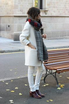 plaid scarf with winter white