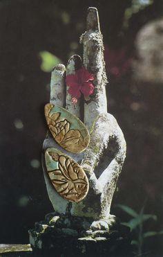 2 CABOCHONS POUR BOUCLES D'OREILLES - ASIATIQUE - VERT DE GRIS - MOTIFS FLORAUX - BUCOLIQUE - FIMO - FUJIGIRLS : Accessoires pour bijoux par atelier-fujigirls