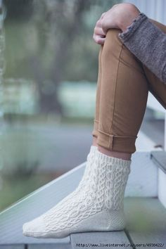 Белые вязаные носки «Oxford».