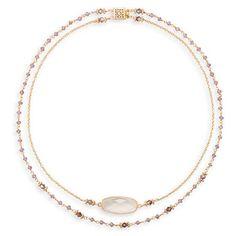 Double Strand Tanzanite and Quartz Necklace