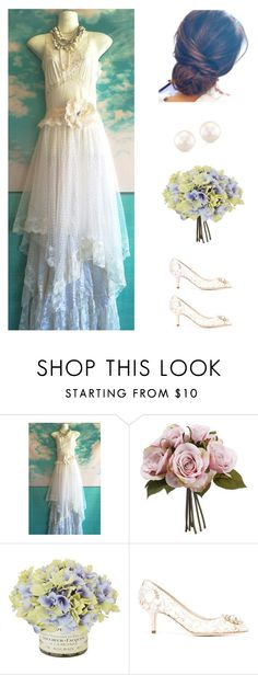 """White Chiffon Polka Dot Tulle Satin & Lace Boho Wedding Dress"" by dezaval ❤ liked on Polyvore featuring Dolce&Gabbana"