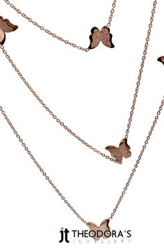 Impressive long rose-gold necklace chain with many butterflies from stainless steel. This necklace can be worn single,double or more in many ways.The butterflies are double layered, one big lustre and a smaller grained one with martile. A technique that gives extra shine on the metal. ------------------------------------------------Εντυπωσιακό μακρύ ροζ χρυσό κολιέ αλυσίδα λαιμού με πολλές πεταλούδες από ανοξείδωτο ατσάλι. Το κολιέ είναι μπορεί να φορεθεί μονό, διπλό ή τριπλό με πολλούς…