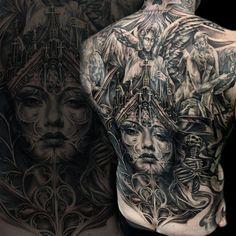 cathedral morph back piece #tattoo #tattoos #tonymancia #blackandgrey #ink #tattooartist #morph #cathedral #backpiece #woman #angel