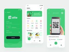 banking app Wallie Digital Wallet by Happy Tri Milliarta for Noansa on Dribbble Ui Design Mobile, App Ui Design, Interface Design, User Interface, Web Design, Design Layouts, Flat Design, Design Digital, Digital Wallet