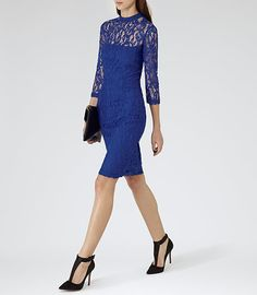 Womens Blue Passion Fitted Lace Dress - Reiss Delilah