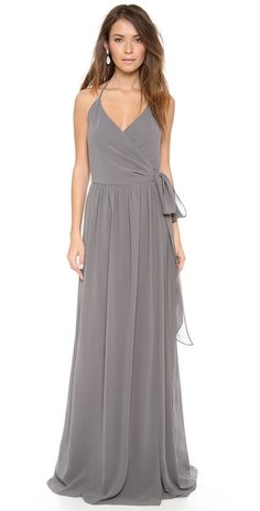 Adore this wrap gown for a bridesmaids dress or special event!