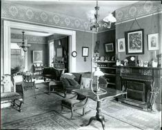 Victorian parlor wtih gas lamp | The Cambridge Historical Society
